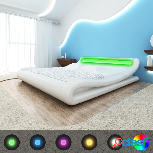 Estructura de cama con LED 180x200 cm cuero artificial