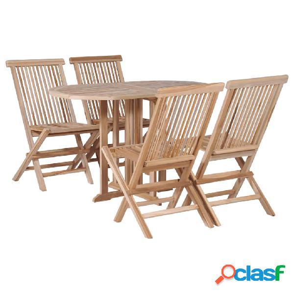Set de mesa y sillas plegables 5 piezas madera de teca