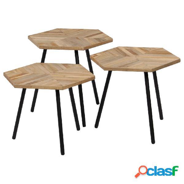 Set de mesas de centro 3 piezas madera teca reciclada