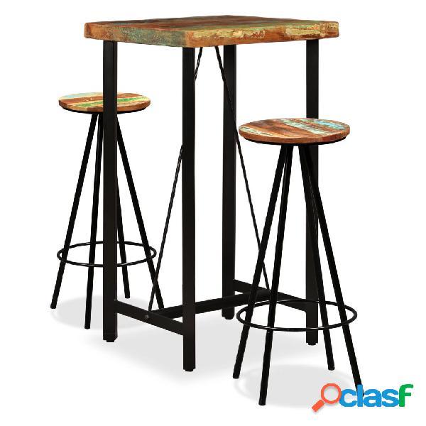 Set muebles de bar 3 piezas madera maciza reciclada