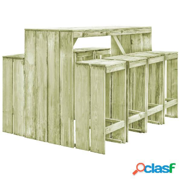Set muebles de bar de jardín 9 pzas madera pino impregnada