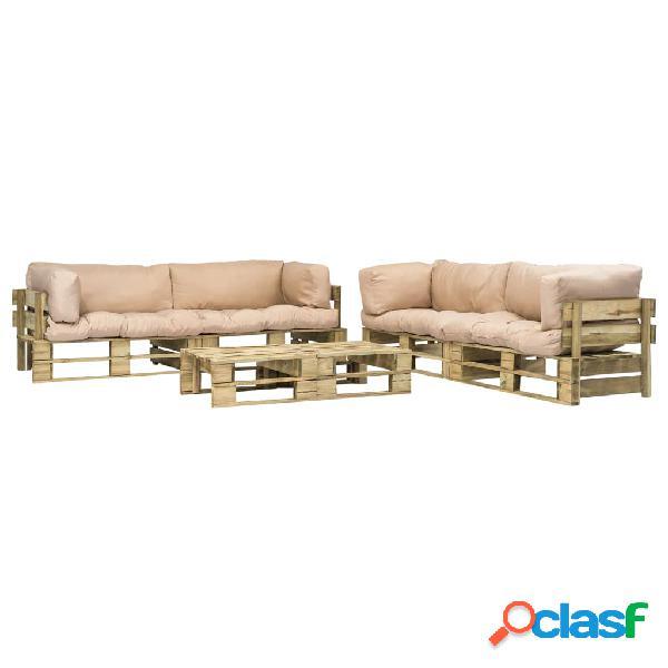 Set sofás jardín de palés 6 piezas cojín arena madera
