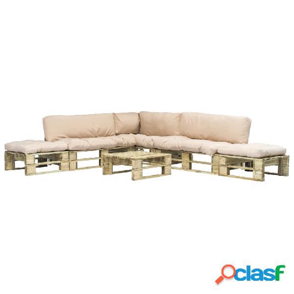 Set sofás jardín de palés 6 pzas cojín arena madera FSC