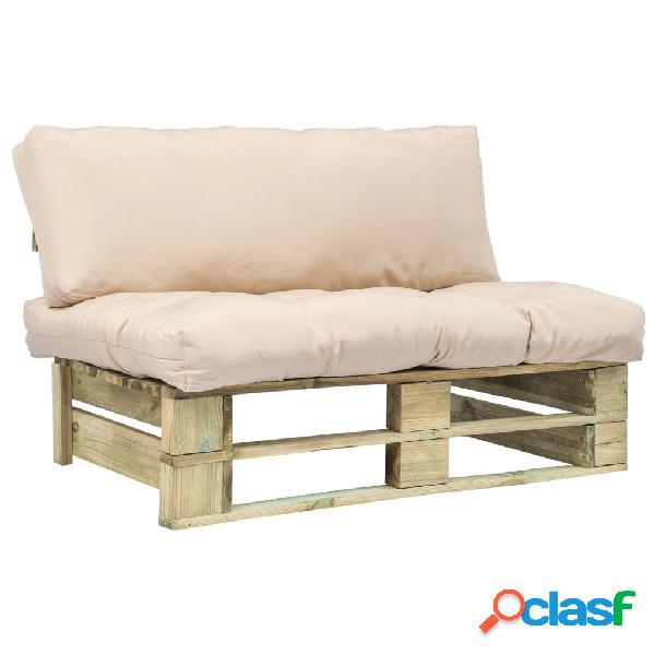 Sofá de jardín de palés cojines arena madera FSC verde