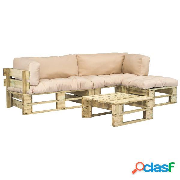 Sofás de jardín de palés cojines arena madera FSC verde 4