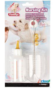 Flamingo Biberon para Perrito cachorro con cepillo