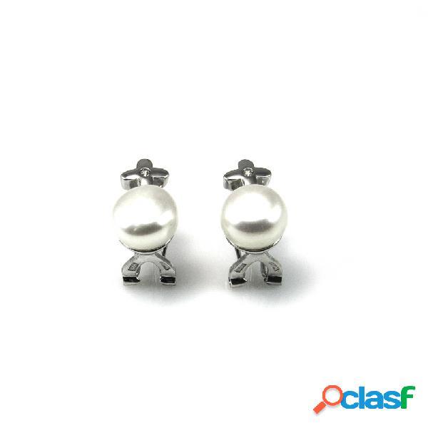 Pendientes de plata rodiada con perlas y circonita cierre