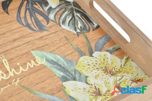 Wellindal Bandeja madera 36x26x5 tropical marrón