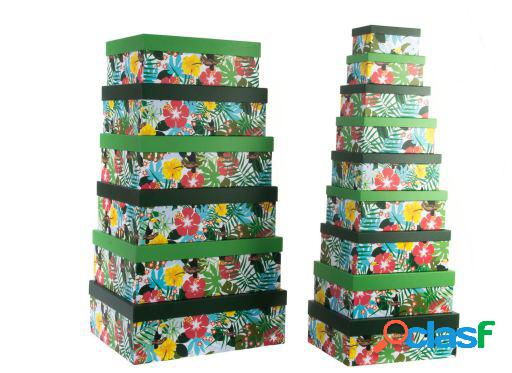 Wellindal Caja set 15 cartón 58x46x20,5 1800 gsm. tropical