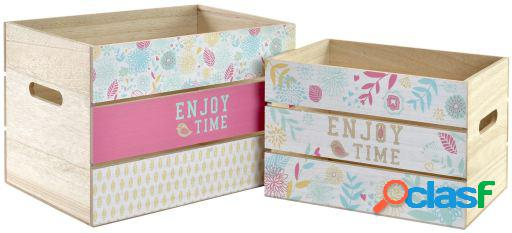 Wellindal Caja set 2 mdf 30x22x22 Flores multicolor