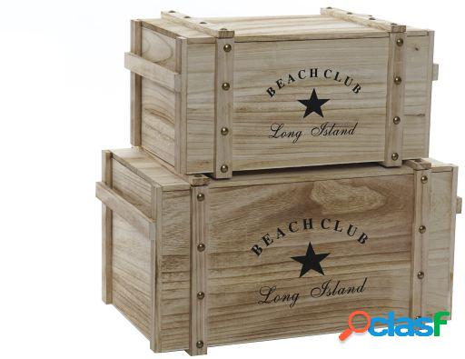 Wellindal Caja set 2 paulownia 60x35x30 tapa beach natural
