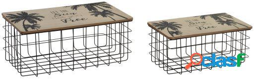 Wellindal Cesta set 2 metal madera 45x28x18 2,5 hojas