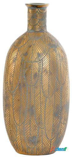 Wellindal Jarrón resina 18,5x15,5x40,5 hoja marrón