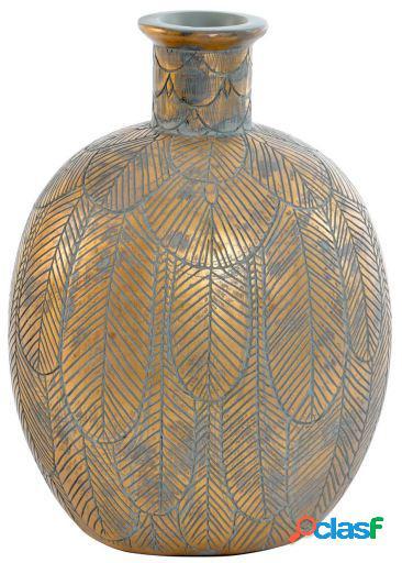 Wellindal Jarrón resina 20x15,5x26 hoja marrón