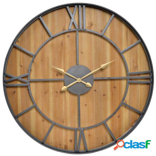 Wellindal Reloj pared abeto metal 101x8x101 natural marrón