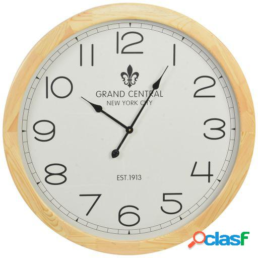 Wellindal Reloj pared madera cristal 78x78x6,5 natural