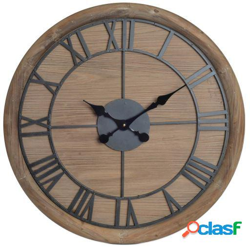 Wellindal Reloj pared madera metal 60x5x60 natural