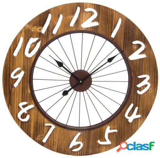 Wellindal Reloj pared madera metal 68x3,5 grabado