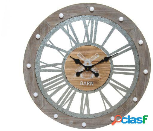 Wellindal Reloj pared madera metal 68x4,5 led