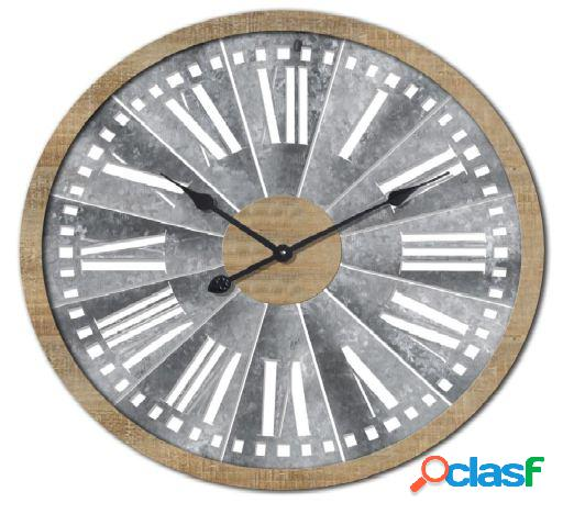 Wellindal Reloj pared madera metal 70x5x70 gris