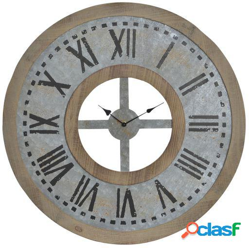 Wellindal Reloj pared madera metal 74x3,5x74 marrón