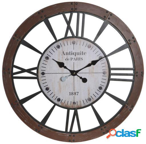 Wellindal Reloj pared madera metal 80x4,5x80 natural