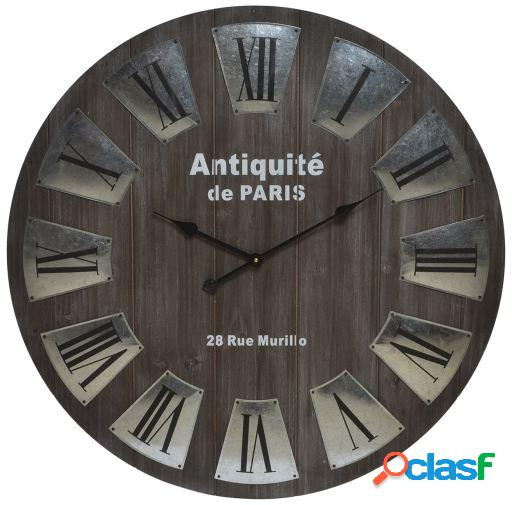 Wellindal Reloj pared madera metal 80x80x4,5 natural