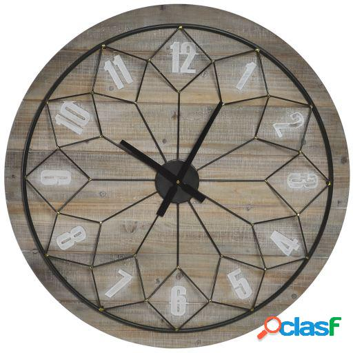 Wellindal Reloj pared madera metal 80x80x6 mandala natural