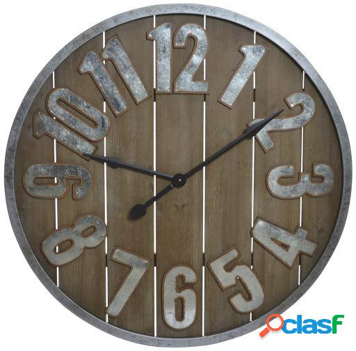 Wellindal Reloj pared madera metal 89,5x5,5 listones natural