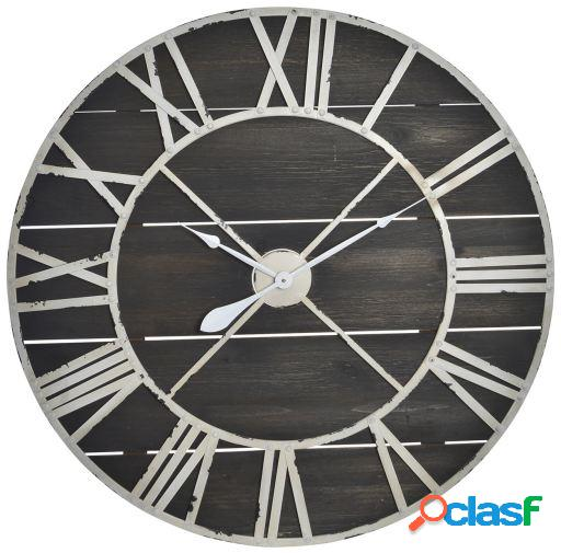 Wellindal Reloj pared madera metal 90x5,5x90 negro