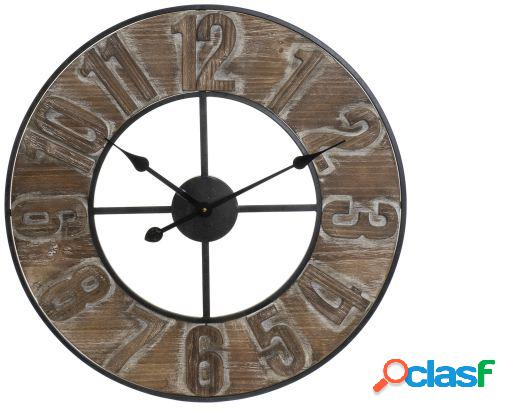 Wellindal Reloj pared mdf metal 60x5x68 natural