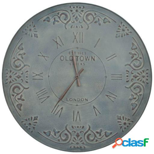 Wellindal Reloj pared metal 80x7 envejecido gris