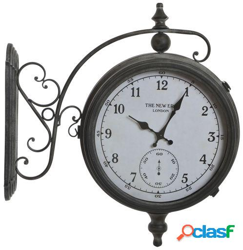 Wellindal Reloj pared metal cristal 55x54x16 estación