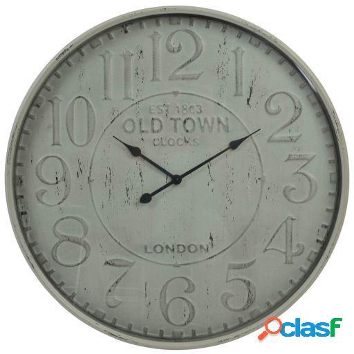 Wellindal Reloj pared metal cristal 80x6,5 envejecido beige