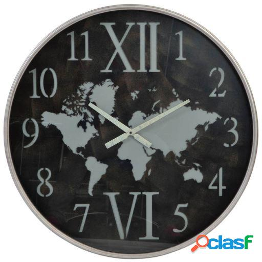 Wellindal Reloj pared metal cristal 80x6,5 mapa