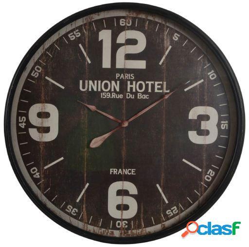 Wellindal Reloj pared metal cristal 90x8.5 hotel envejecido
