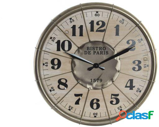 Wellindal Reloj pared metal madera 60x4,5 gris