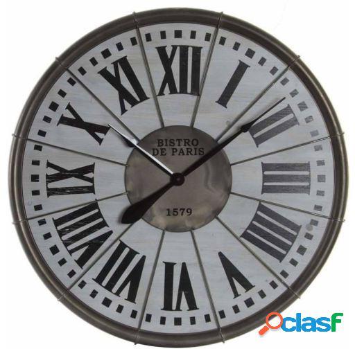 Wellindal Reloj pared metal madera 76x5 números romanos