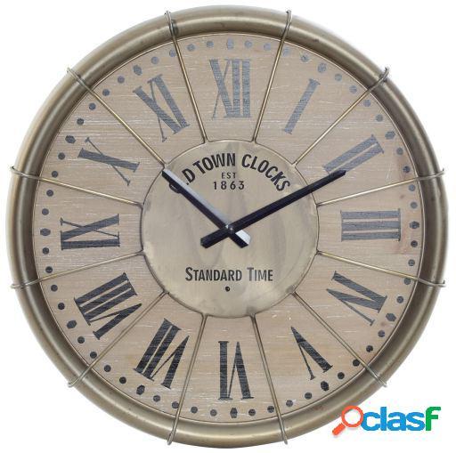 Wellindal Reloj pared metal mdf 46x4.5x46 envejecido dorado