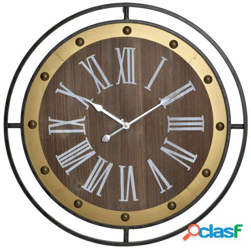 Wellindal Reloj pared metal mdf 60x5x60 negro