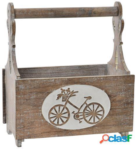 Wellindal Revistero madera 37x20x41 plegable envejecido