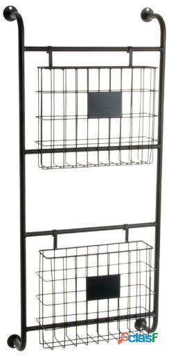 Wellindal Revistero metal 40,5x17x86 pared negro