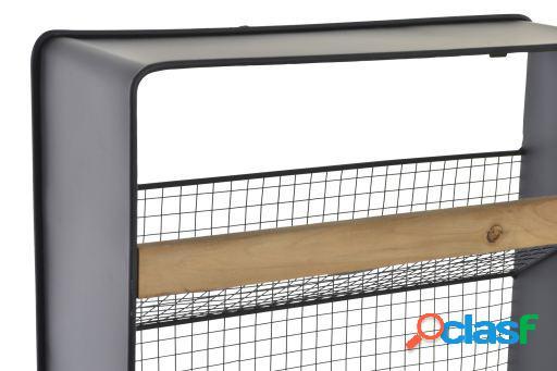 Wellindal Revistero metal madera 40x15x61 pared