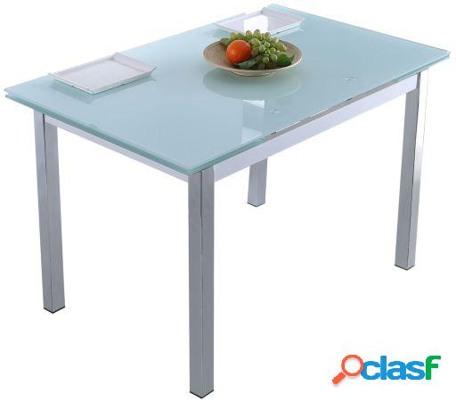 Wellindal Mesa comedor extensible new york blanco / cromo