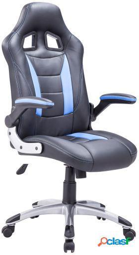 Wellindal Sillón giratorio gaming símil piel negro - azul