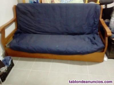 Sofa cama en madera con arcón, para cama de 90,