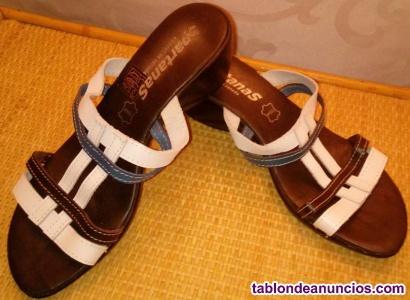 Zapatos de piel spartanas de mujer tricolor talla 39