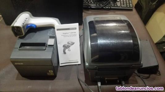 Caja registradora y tikeadora.impresora y rollos