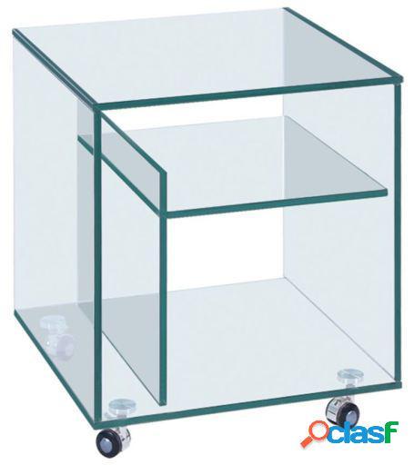 Mesa de noche con ruedas gler-cristal transparente 50x50x56