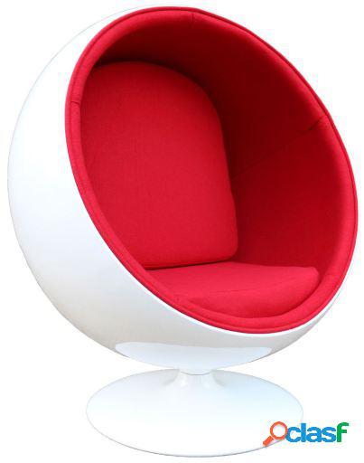 Wellindal Silla ball bol rojo y blanco inspiración ball